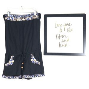 Miss me romper shorts embroidered peasant boho S